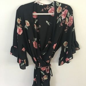 Black Pleione Wrap Blouse